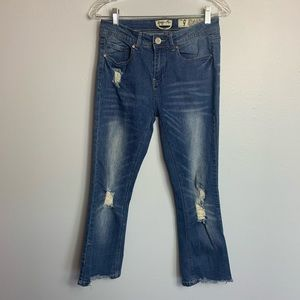 Raw Hem Skinny Jean Distressed Crop Indigo Size 9